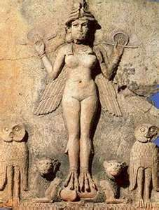 Lilith in Sumaria, check out the Lion's and Owls at her feet